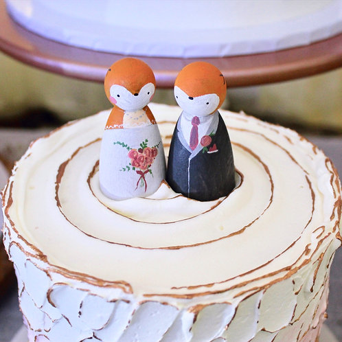 Custom Wooden Peg Cake Toppers