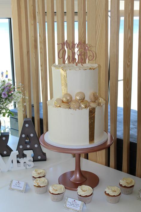 Gold Leaf & Macaron Wedding Cake