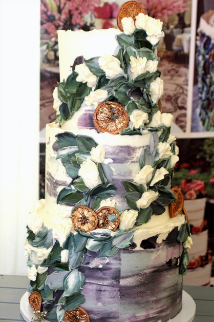 Painted & Piped Floral Wedding Cake