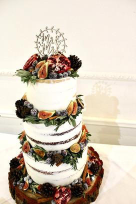 Semi-Naked Three Tier Wedding Cake