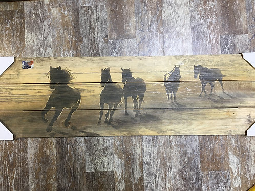 """Wooden Horse Painting - 36"""" x 10.5"""""""