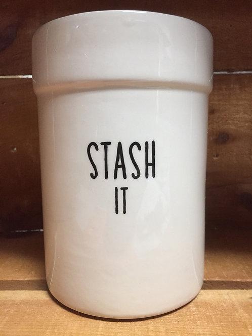 """Stash It"" Ceramic Utensil Holder Crock"