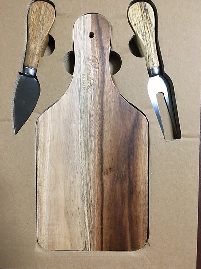 Wood Board with Cheese Knives