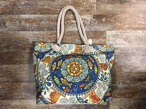 """Fish Mandala Pattern Polyester 16.5"""" x 12"""" x 6"""" Tote Bag by Elsie and Zoey"""