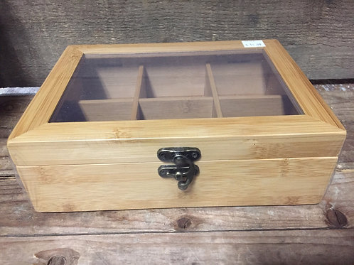 Bamboo Tea Box with Plastic Window and Metal Closure