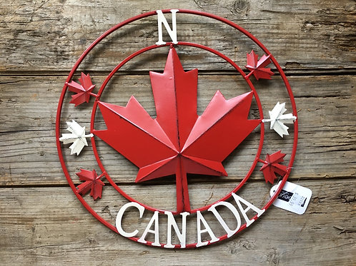 """12"""" x 12"""" Rustic Canada Compass Circle Metal Wreath by Koppers Imports"""