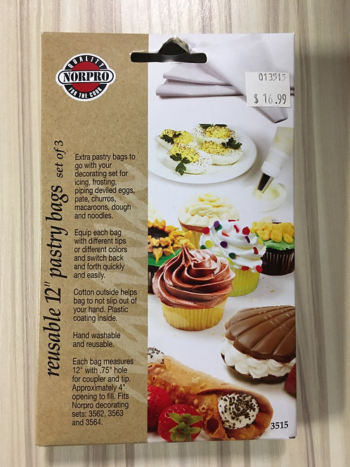 """Set of 3 Reusable 12"""" Pastry Bags"""
