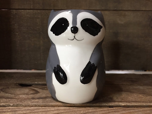 """4"""" x 3"""" x 3"""" Ceramic Raccoon Planter or Pencil Cup by Abbott"""