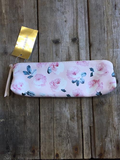 "Pink Floral Patterned 9.25"" x 3.5"" x 1.5"" Zippered Bag by Fringe"