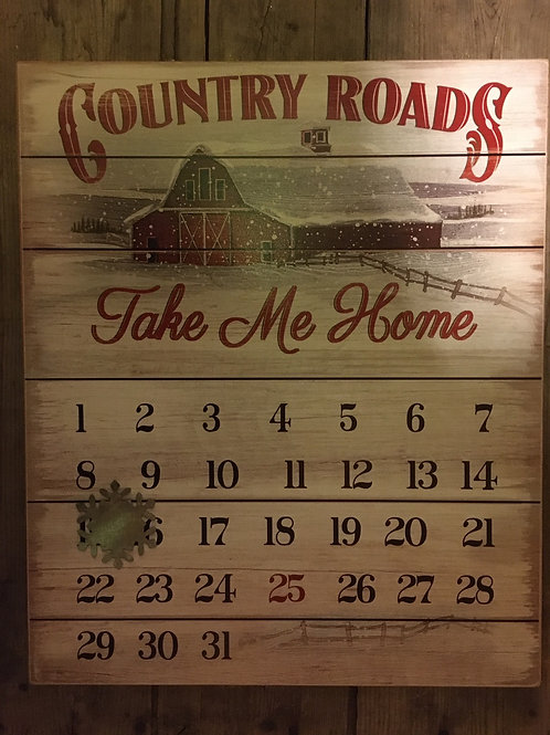 "14"" x 11.75 ""Country Roads..."" Advent Calendar Wooden Sign"