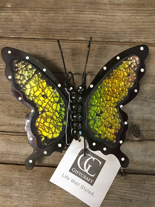 """Yellow 6"""" x 5"""" Planter Pot Hanging Metal and Glass Butterfly"""