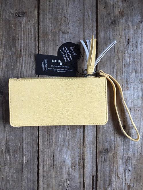 "Yellow 8"" x 4"" Vegan Leather K. Carroll Wallet"