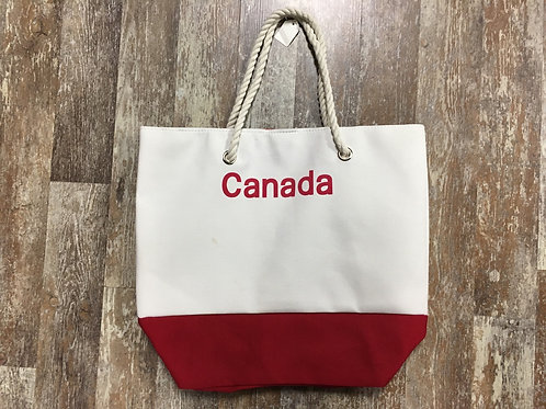 """"""" Canada"""" Red and White Two Toned 17.5"""" x 15.25"""" x 4.5"""" Canvas Tote Bag"""