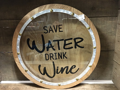 """11.75"""" x 11.75"""" x 2"""" """"Save Water Drink Wine"""" Wall Hanging Wine Cork Cage"""