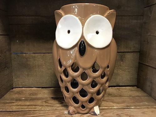 "10.5"" x 6.5"" x 5.5"" Brown Ceramic Owl Votive Candle Holder final sale (chip)"