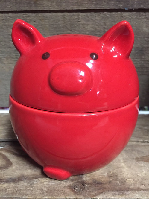 """5"""" x 4.5"""" x 4.5"""" Red Pig Condiment Dish with Spoon by Grassland Roads"""