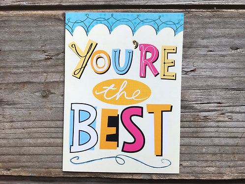 """""""You're the Best"""" 5"""" x 3.75"""" Little Jeanie Greeting Card by Hazy Jean"""