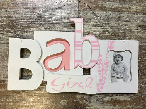"""Baby Girl Picture Frame - Photo 3"""" x 4"""" - Frame 13.75"""" x 8"""""""