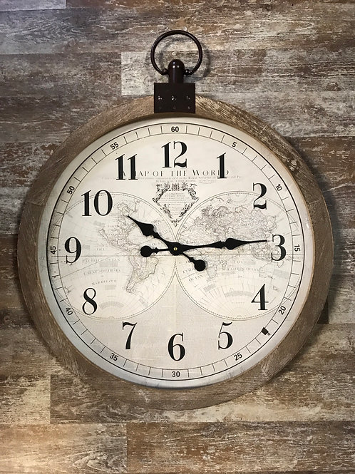 """30"""" x 23.5"""" Hanging Wood Framed Clock with World Map by Koppers Imports"""