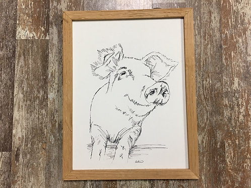 """18"""" x 14"""" Wood Framed Wooden Pig Picture by Young's Inc"""