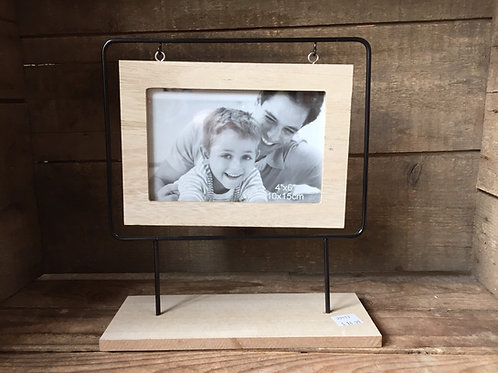 "9.5"" x 8.75"" x 3.25""  Metal and Wood Hanging 4x6 Photo Picture Frame"