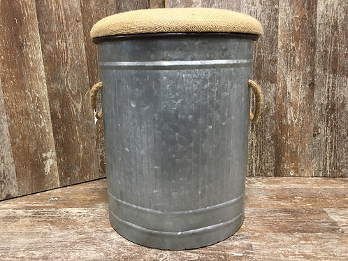 """16"""" x 12"""" x 12"""" Metal Seat with Remove-able Burlap Lid by Koppers Imports"""