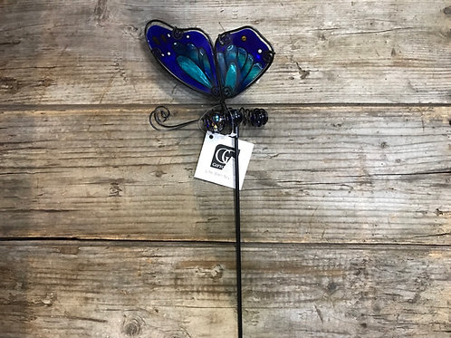 """24"""" x 5.1"""" x 1.6""""Metal and Glass Butterfly Garden Stake"""