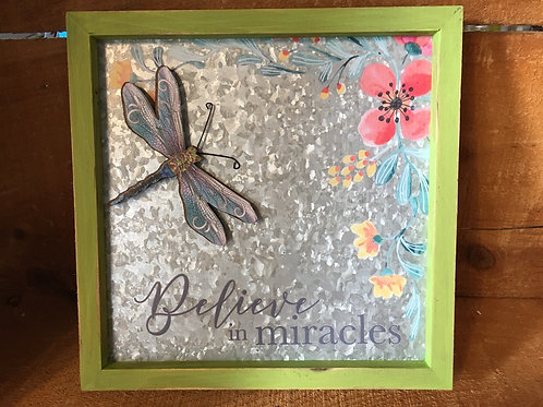 """""""Believe in Miracles"""" Dragonfly Magnet 7.75"""" x 7.75"""" Metal and Wood Print Sign"""