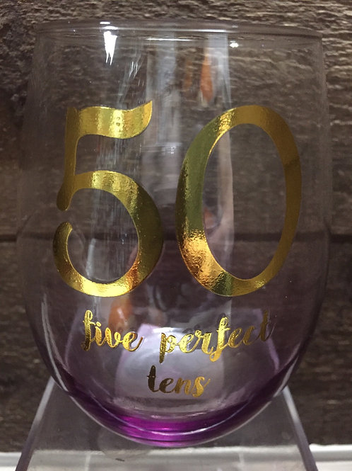 """50 Five Perfect Tens"" Variegated Stemless Wine Glass from Grassland Roads"