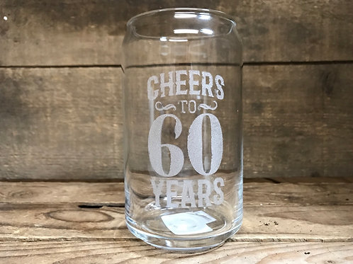 """Cheers to 60 Years"""" Beer Can Style Glass by Carson Home Accents"""