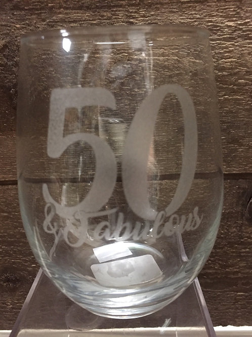 """""""50 & Fabulous"""" Stemless Wine Glass by Carson Home Accents"""