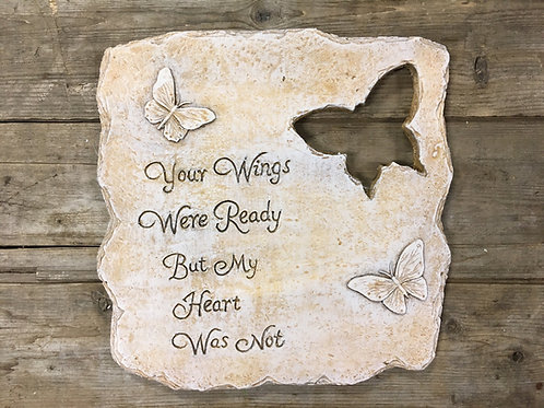 """""""Your Wings Were Ready..."""" 11"""" x 10.5"""" Concrete Memorial Stone by SDS"""