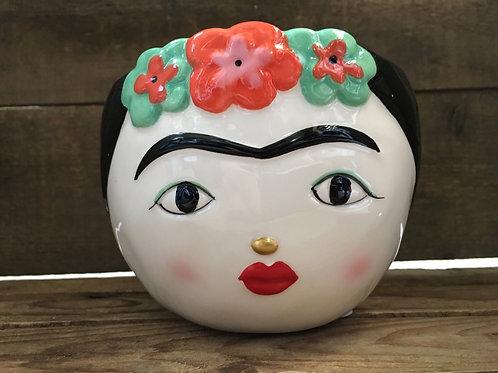 "3.75"" x 5"" x 5"" Frida Face Ceramic Planter by Abbott"