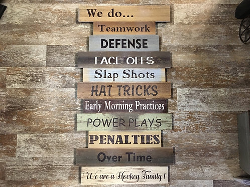 """30"""" x 16"""" Hockey Family Pine Wood Sign by Koppers Imports"""