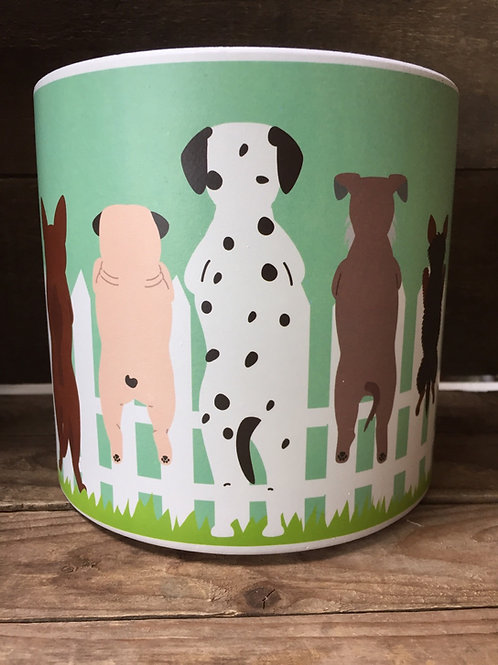 """6.25"""" x 6.25"""" x 6"""" Green Dog Patterned Clay Planter by Abbott"""