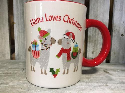 """""""Llama Loves Christmas"""" Ceramic Mug"""