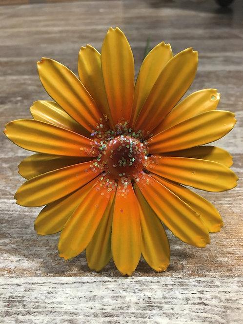 "Yellow 20"" x 4"" Metal Flower Garden Stake"