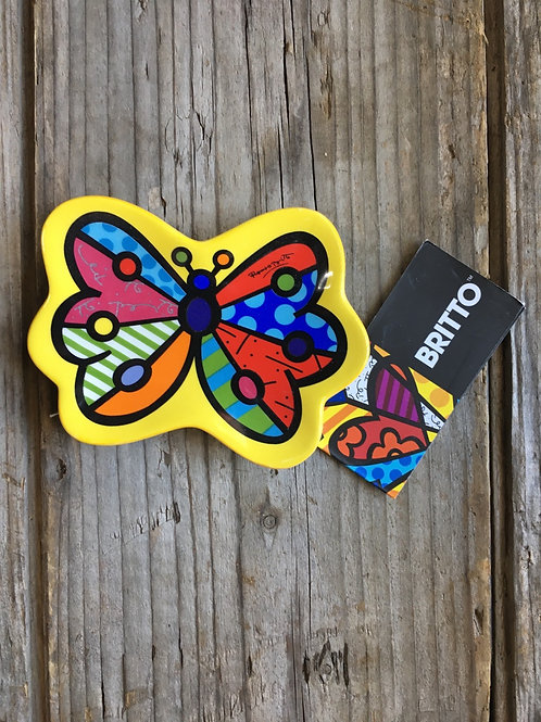 """Yellow Butterfly 3.75"""" x 2.75"""" Ceramic Tea Bag Rest by Britto for GiftCraft"""