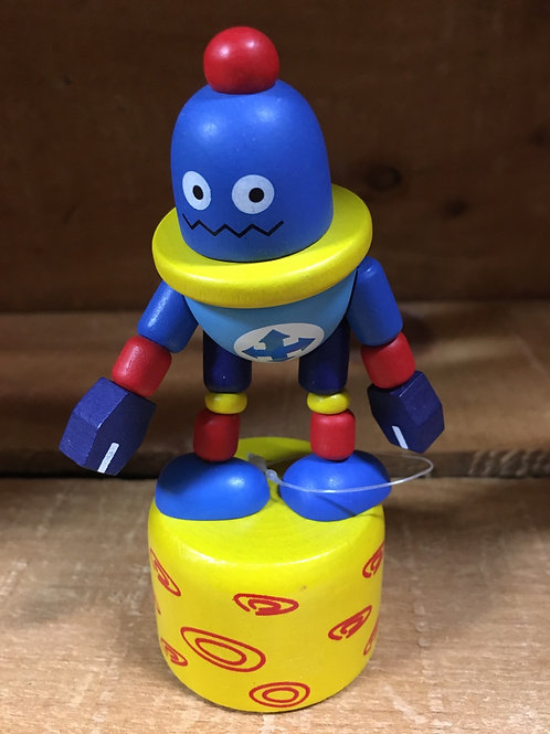 Blue Robot Wooden Dancing Puppet Toy