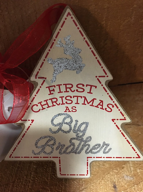 """""""Big Brother"""" Wooden Christmas Tree Ornament"""