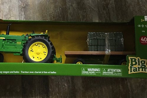 4020 John Deere Tractor with Hay Wagon and Bales