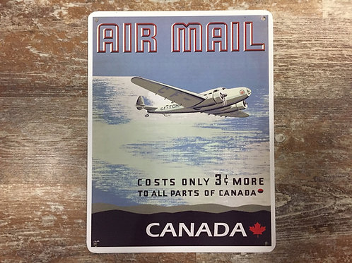 """""""Air Mail"""" Airplane Vintage Style Canadian 11"""" x 8.5"""" Poster Metal Sign"""