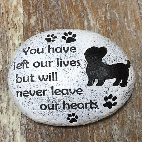 """""""You have left our lives..."""" 4"""" x 3"""" x 1.5"""" Resin Dog Memorial"""