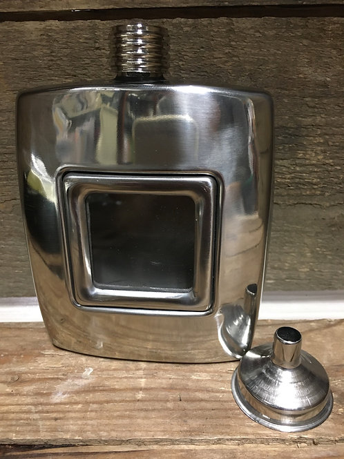 8 oz Stainless Steel Flask with Window and Funnel
