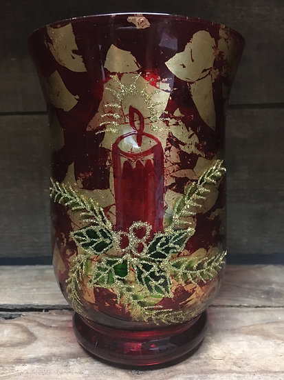 Painted Glass Candle Holder
