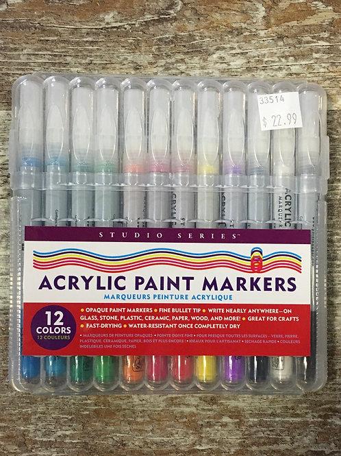Acrylic Paint Markers - 12 Colours - Studio Series