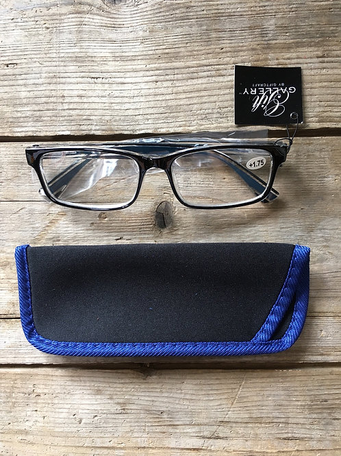 1.75 Strenghth Reading Glasses with Blue Trimmed Fabric Pouch by GiftCraft