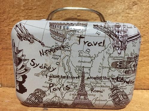 "World Travel Map 3"" x 2.25"" Metal Mini Tin"