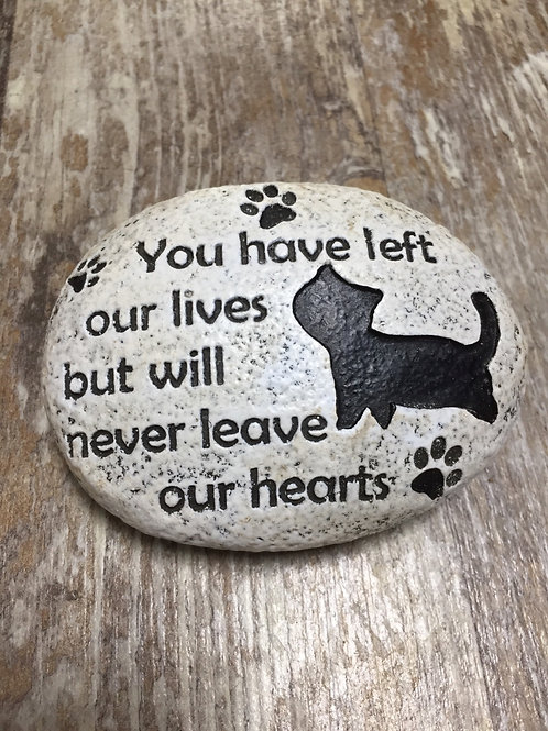 """""""You have left our lives..."""" 4"""" x 3"""" x 1.5"""" Resin Cat Memorial Stone"""
