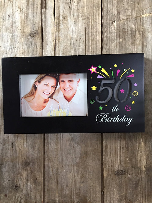 """""""50th Birthday"""" 11.5""""x6.25"""" Light Up 4x6 Sitting or Hanging Photo Picture Frame"""